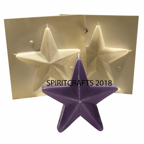 """FREESTANDING 5 POINT STAR PLASTIC CANDLE MOLD (6"""" HT)"""