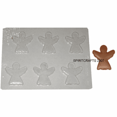 GINGERBREAD ANGEL CANDLE EMBED / CANDY MOLD, 6 WELL