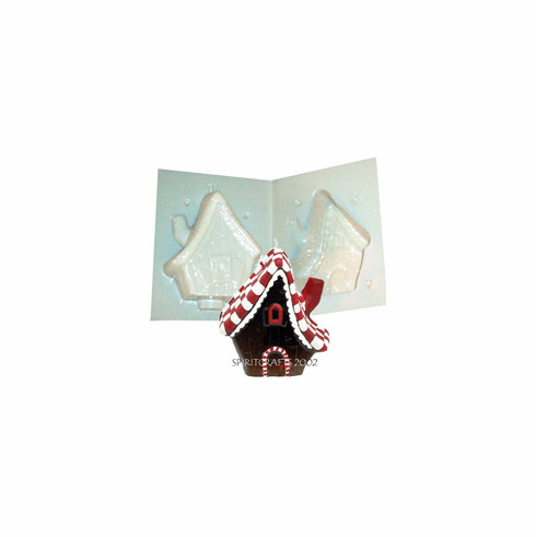 """GINGERBREAD HOUSE<br> CANDLE MOLD<br> (5"""" HT, 1 lb)"""