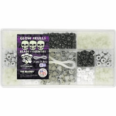 GLOWING SKULL BEAD BOX CRAFT KIT (APPROX 579 PIECES)