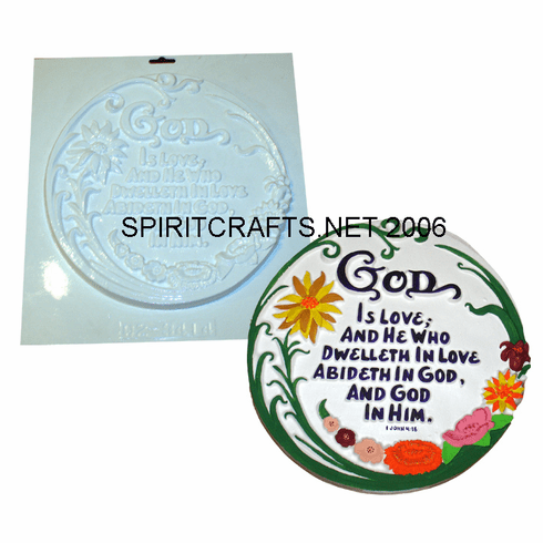 "GOD IS LOVE ROUND RELIGIOUS PLASTER MOLD (11"" DIA)"
