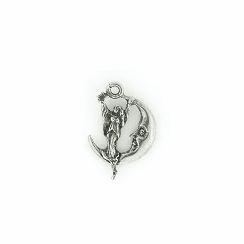 """GODDESS ON THE MOON WICCA PEWTER CHARM (1.25"""")"""