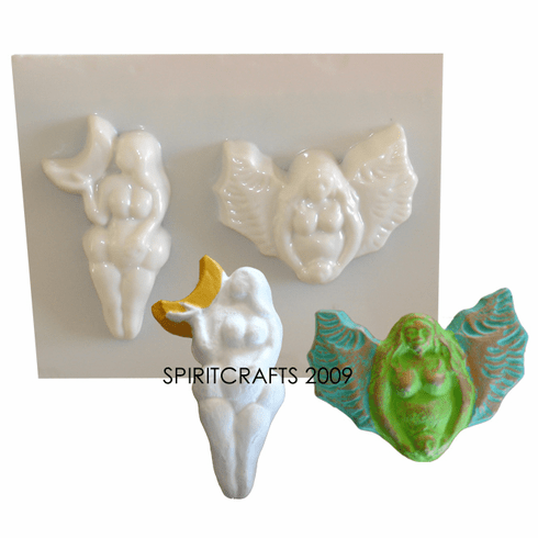 GODDESSES SOAP MOLD, WINGS AND MOON (2 on 1)