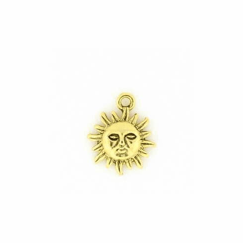 "GOLD COLORED SUN CHARMS (0.7"" X 0.5"")"