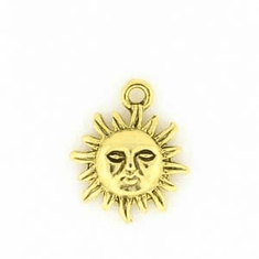 """GOLD COLORED SUN CHARMS (0.7"""" X 0.5"""")"""