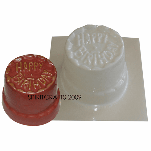 "HAPPY BIRTHDAY CAKE CANDLE MOLD (3"" HT, 1 lb 1 oz)"
