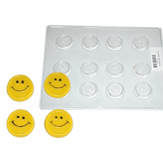 HAPPY FACE CANDLE EMBED / CANDY MOLD, 12 WELL