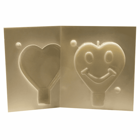 """HAPPY FACE HEART CANDLE MAKING MOLD (3.25"""" HT)"""
