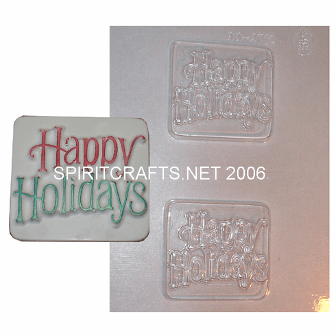 HAPPY HOLIDAYS SOAP MAKING MOLD, 2 WELL