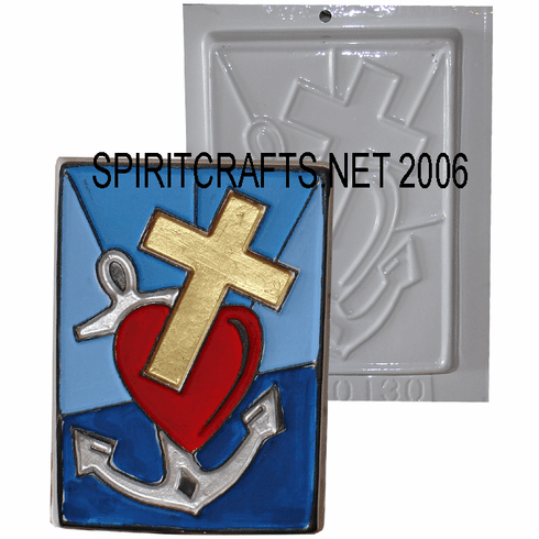"""HEART CROSS AND ANCHOR PLASTER CRAFT MOLD (5"""" x 7"""")"""