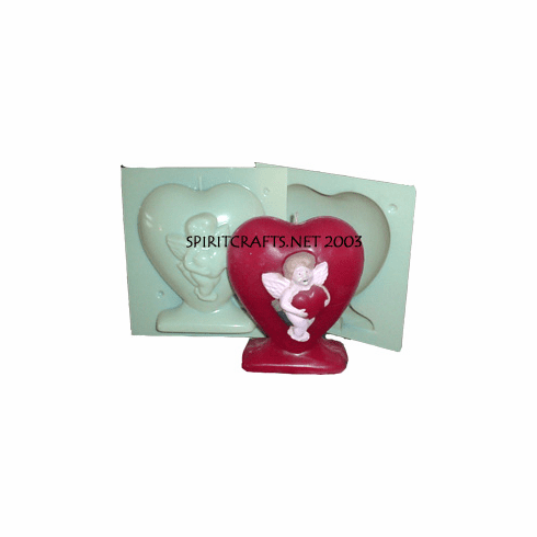 "HEART WITH CUPID CANDLE MOLD (6.25"" HT, 1 lb 8 oz)"
