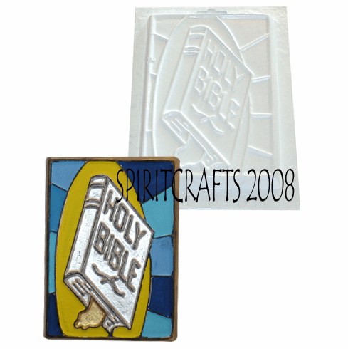"""HOLY BIBLE STAINED GLASS PLASTER MOLD (5"""" x 7"""")"""