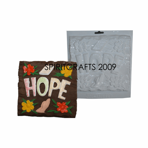 "HOPE WORD PLAQUE PLASTER MOLD (8"" x 8"")"