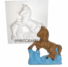 "HORSE AND WAVES PLASTER CRAFT MOLD (6.5"" x 7.5"")"