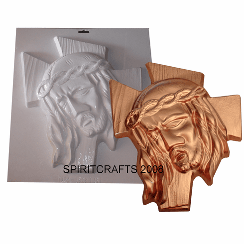 """JESUS AND THE CROSS PLASTER MOLD (12.5"""" x 14.5"""")"""