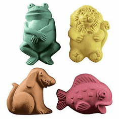 KIDS CRITTERS 2 SOAP MOLD (LION, FROG, FISH, DOG)