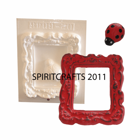 "LADYBUG AND PICTURE FRAME PLASTER MOLD (5.5"" x 6"")"
