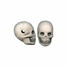 LARGE CERAMIC SKULL BEADS, HIGH FIRE (22mm x 15mm)