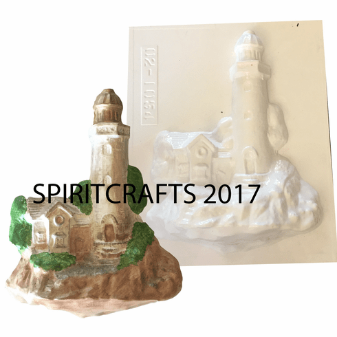 "LARGE LIGHTHOUSE PLASTER CRAFT MOLD (10.5"" x 8"")"