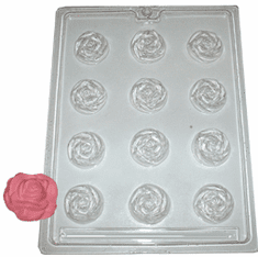 LARGE ROSE EMBED / CANDY MOLD, 12 WELL