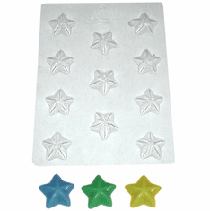 LARGE ROUNDED STAR EMBED / CANDY MOLD, 11 WELL