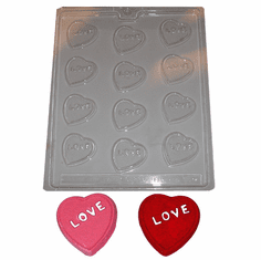 """LOVE"" HEARTS CANDY / EMBED MOLD (12 WELL)"