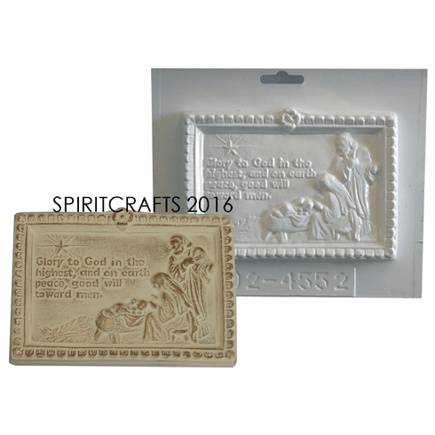 "LUKE 2:14 GLORY TO GOD PLASTER CASTING MOLD (6.25"" x 4.5"")"