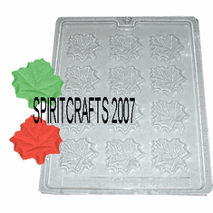 MAPLE LEAF CANDLE EMBED / CRAFT MOLD, 12 WELL