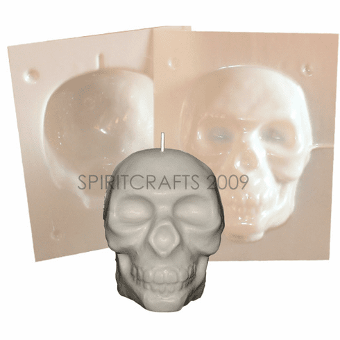 "MEDIUM SKULL CANDLE MAKING MOLD (5"" HT, 12 oz)"