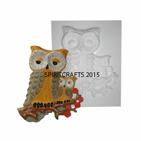 """MOTHER AND CHILD OWL PLASTER MOLD (11.25"""" HT)"""