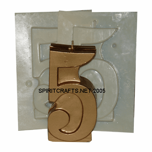 "NUMBER FIVE 5 CANDLE MAKING MOLD (5.25"" HT, 7 oz)"