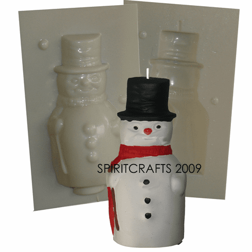 """OLD FASHIONED SNOWMAN CANDLE MOLD (6.5"""" HT, 13 oz)"""
