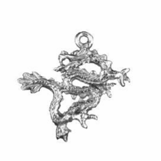 "ORIENTAL DRAGON PEWTER CHARMS BEADS, 1"" DIA"