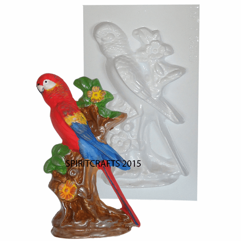 """PARROT ON BRANCH PLASTER CRAFT MOLD (8.25"""" HT)"""