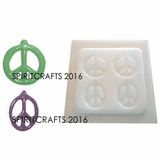 """PEACE SIGNS RESIN MOLD, 2 STYLES (2"""" DIA and 2"""" x 1.5"""")"""