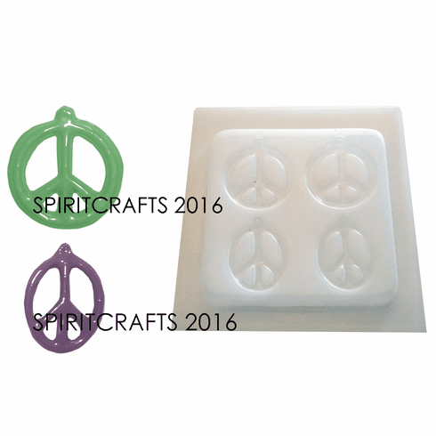 "PEACE SIGNS RESIN MOLD, 2 STYLES (2"" DIA and 2"" x 1.5"")"