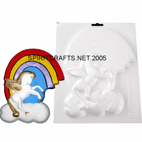 """PEGASUS WINGED HORSE WITH RAINBOW PLASTER MOLD (9.25"""")"""