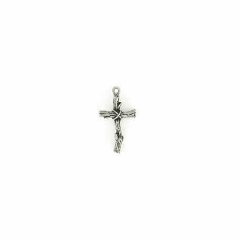 "PEWTER BRANCH CROSS CHARM BEAD, 1.25"" HT"