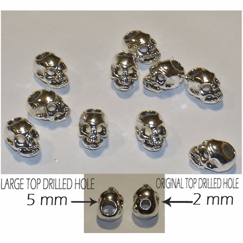 PEWTER SKULL BEADS (14 x 10mm), TOP DRILLED / LARGE HOLE