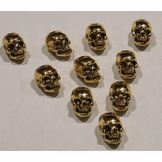 PEWTER SKULL BEADS, GOLD COLORED, 14mm x 10mm