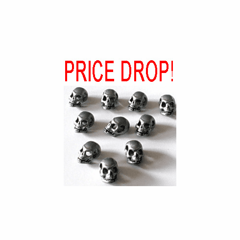 PEWTER SKULL BEADS, SIDE DRILLED, 14mm x 10mm