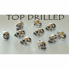 PEWTER SKULL BEADS, TOP DRILLED, 14mm x 10mm