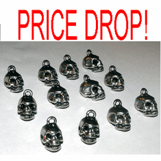 PEWTER SKULL CHARMS, 14mm x 10mm