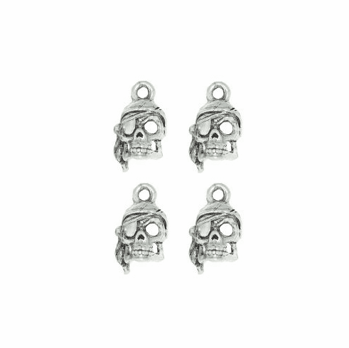 """PIRATE SKULL WITH SCARF PEWTER CHARM, .6"""" x .35"""""""