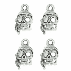 "PIRATE SKULL WITH SCARF PEWTER CHARM, .6"" x .35"""