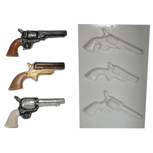 PISTOLS PLASTER MOLD, 3 ON 1 ASSORTMENT