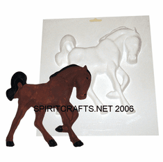 "PRANCING HORSE PLASTER CRAFT MOLD, RIGHT FACING (8.5"" HT)"