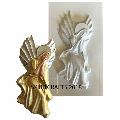 "PRAYING ANGEL WITH WINGS PLASTER MOLD (8.25"" HT)"
