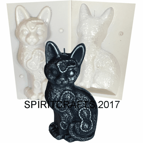 """QUILTED CAT CANDLE MAKING MOLD (8"""" HT, 1 lb 3 oz)"""