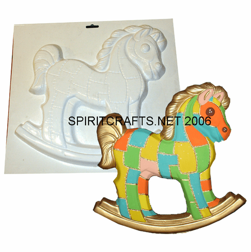 """QUILTED ROCKING HORSE PLASTER CRAFT MOLD (14"""" x 13"""")"""